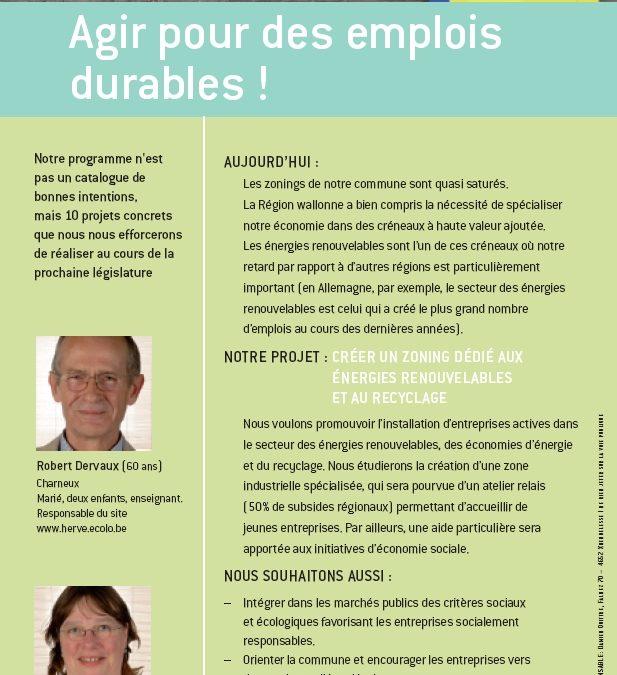 Agir pour des emplois durables