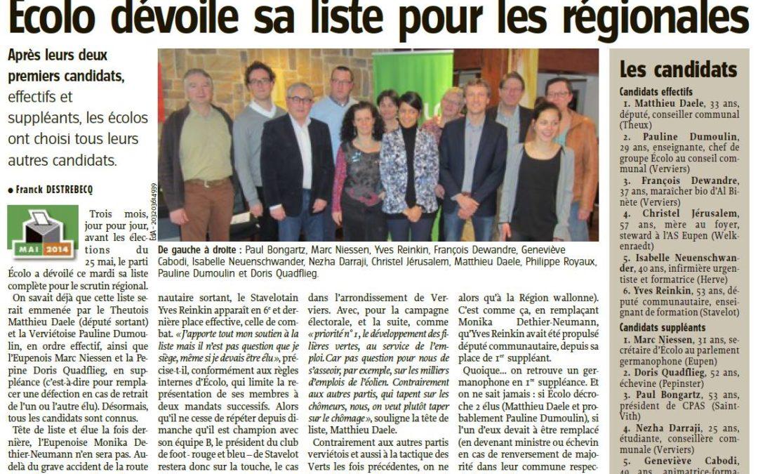 Elections 2014 Ecolo: Matthieu Daele emmène la liste aux Régionales